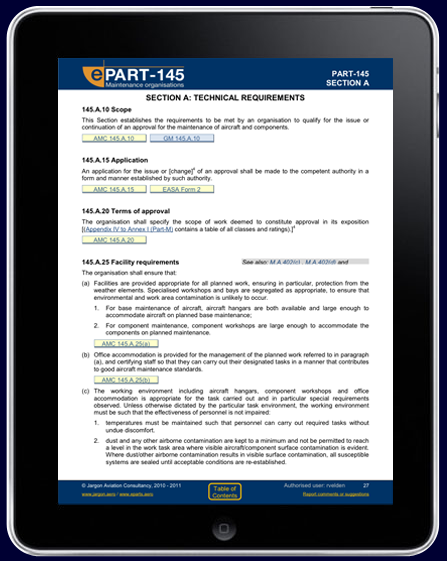 Consolidated EASA Part-145 on iPad